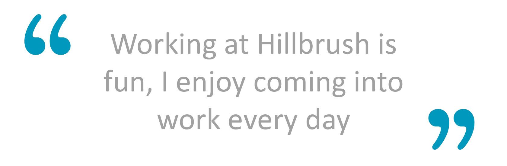 Working at Hillbrush is fun